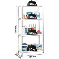 Simon Rack 202100016157534 - Estantería con tornillos (4 bandejas metálicas, 1500 x 750 x 300, 50 kg/estante) color blanco