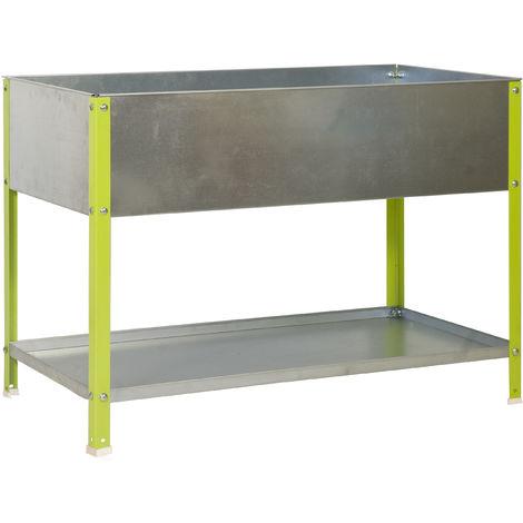 SimonRack - Jardinière galva/vert 100L avec étagère - UrbanGarden Top 850*900*400 Galva