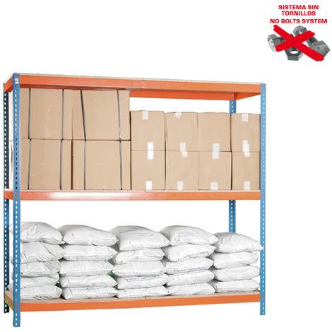 Simonrack - Kit ecoforte 3 estantes chipboard azul - naranja - madera