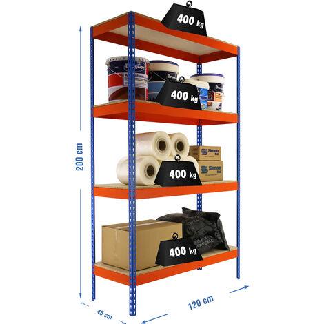 Simonrack - Kit ecoforte 4 estantes chipboard azul - naranja - madera