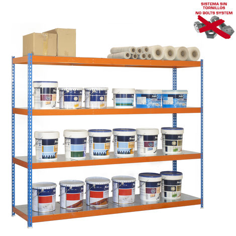 Simonrack - Kit ecoforte 4 estantes metal azul - naranja - galvanizado