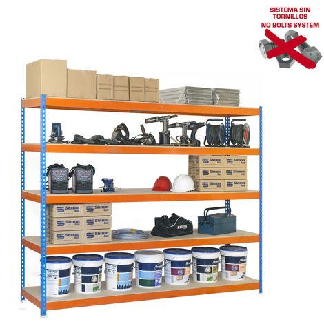 Simonrack - Kit ecoforte 5 estantes chipboard azul - naranja - madera