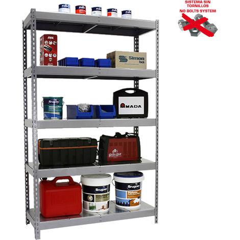 Simonrack - Kit ecoforte 5 estantes metal azul - naranja - galvanizado