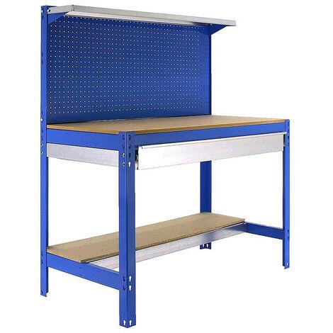 SimonRack - Kit Etabli 1440x1200x600mm Charge 600Kg - SIMONWORK BT3 BOX 1200 BLEU/BOIS