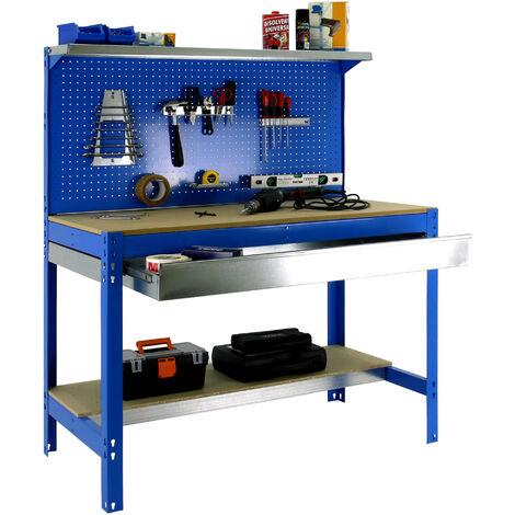 SimonRack - Kit Etabli 1440x900x600mm Charge 400Kg - SIMONWORK BT3 BOX 900 BLEU/BOIS