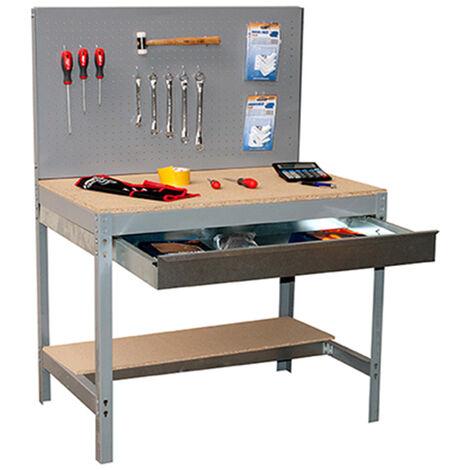 SimonRack - Kit Etabli avec tiroir 1440x900x600mm - BT-2 BOX 900 GRIS FONCE/BOIS