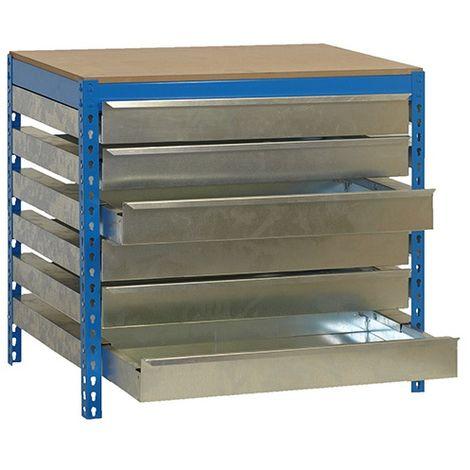 SimonRack - Kit Etabli avec tiroirs 840x900x600mm - BT-5 BOX6 900 GRIS FONCE/BOIS