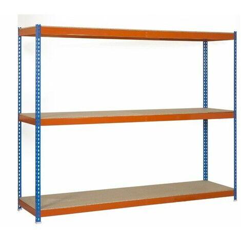 Simonrack - Kit simonforte 3 estantes chipboard azul - naranja - madera