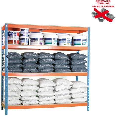 Simonrack - Kit simonforte 4 estantes chipboard azul - naranja - madera
