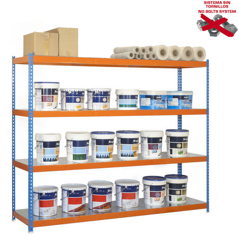 Simonrack - Kit simonforte 4 estantes metal azul - naranja - galvanizado
