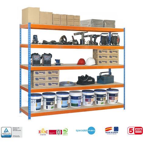 Simonrack - Kit simonforte 5 estantes chipboard azul - naranja - madera