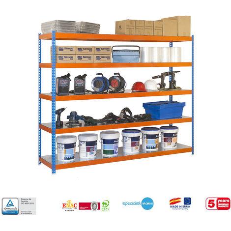Simonrack - Kit simonforte 5 estantes metal azul - naranja - galvanizado