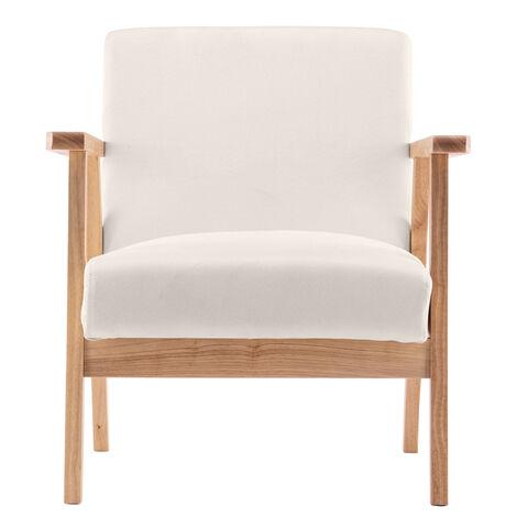 "main image of ""Simple armchair living room bedroom modern creative wooden single lounge chair - Beige"""
