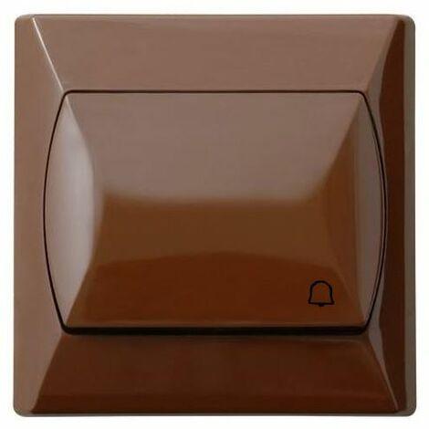 Simple gros bouton basique réactif push release porte cloche interrupteur brun