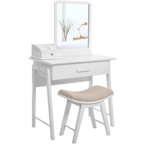 Simple Makeup Dressing Table Vanity Set with Square Mirror and Concave Cushioned Stool Bonus Makeup Organiser 1 Large Drawer with Sliding Rails White RDT21W