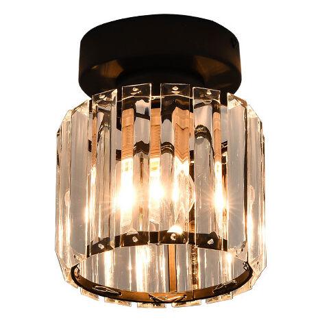 "main image of ""Simple Modern LED Crystal Ceiling Lamp Shade Luxury Shade Creative Personality Shade Balcony Corridor Shade Black Round Shade, Shade (Without Bulb)"""