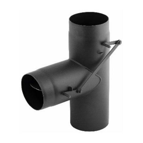 Simple paroi acier 2 mm - Té 90° double clapet (Bypass) | 180 mm