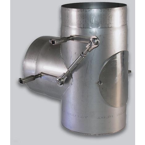 Simple paroi inox 2 mm - Té 90° double clapet (Bypass) | 180 mm