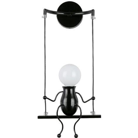 Simple Poupée De Mode Balançoire Enfants Applique Murale Moderne Salon Chambre Créative De Chevet Mur Lumière Vacances/Cadeau De Mariage (Noir)