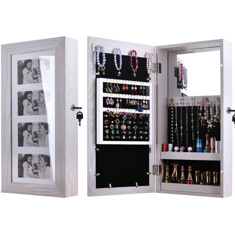 Simple PVC Wood Grain Coating Photo Storage Damp-proof Jewelry Mirror Cabinet White