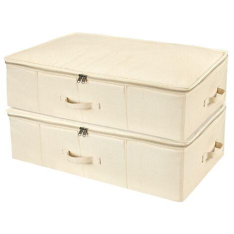 SimpleHome 2 x Aufbewahrungstasche faltbar Keidungtasche Kleiderbox Kleiderbehälter Kleidung Aufbewahrung für Bettwäsche, Kleidung, Decken, Kissen, Khaki