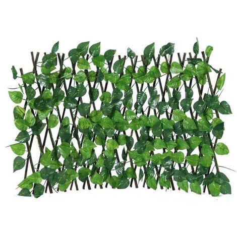 Simulation cloture artificielle cloture telescopique fausse vigne feuilles cloture de confidentialite pour jardin exterieur jardin decor petite taille 15.7in,modele:Vert