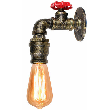 Simulation Faucet Wall Light Vintage Industrial Wall Lamp Creative Chandelier for Corridor Loft Bedroom Bronze