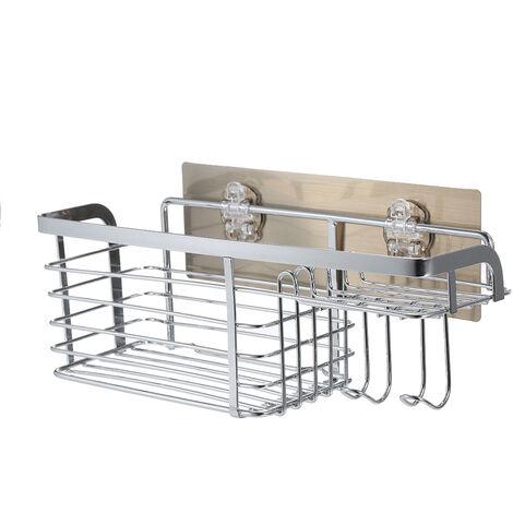 Sin taladrar 22 libras de peso con soporte de almacenamiento en estantes de bano, con placa posterior adhesiva lavable y hebilla