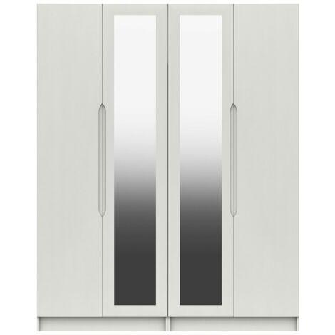 Sinata Tall Four Door Gloss Mirror Wardrobe