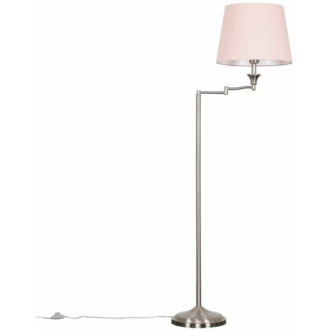 Sinatra Swing Arm Floor Lamp in Brushed Chrome - White - Silver