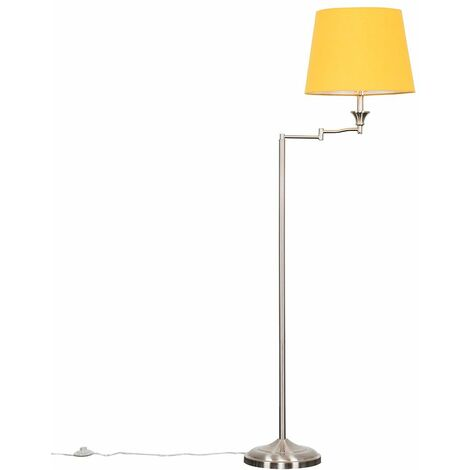 Sinatra Swing Arm Floor Lamp in Brushed Chrome with LED Bulb - Mustard - Silver