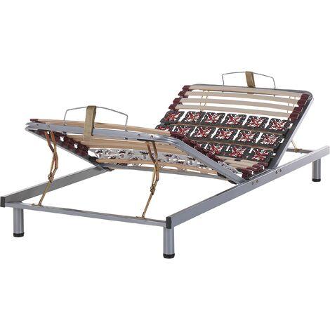 Single Bed Frame 3ft Manually Adjustable Solid Wood Slats Steel Moon