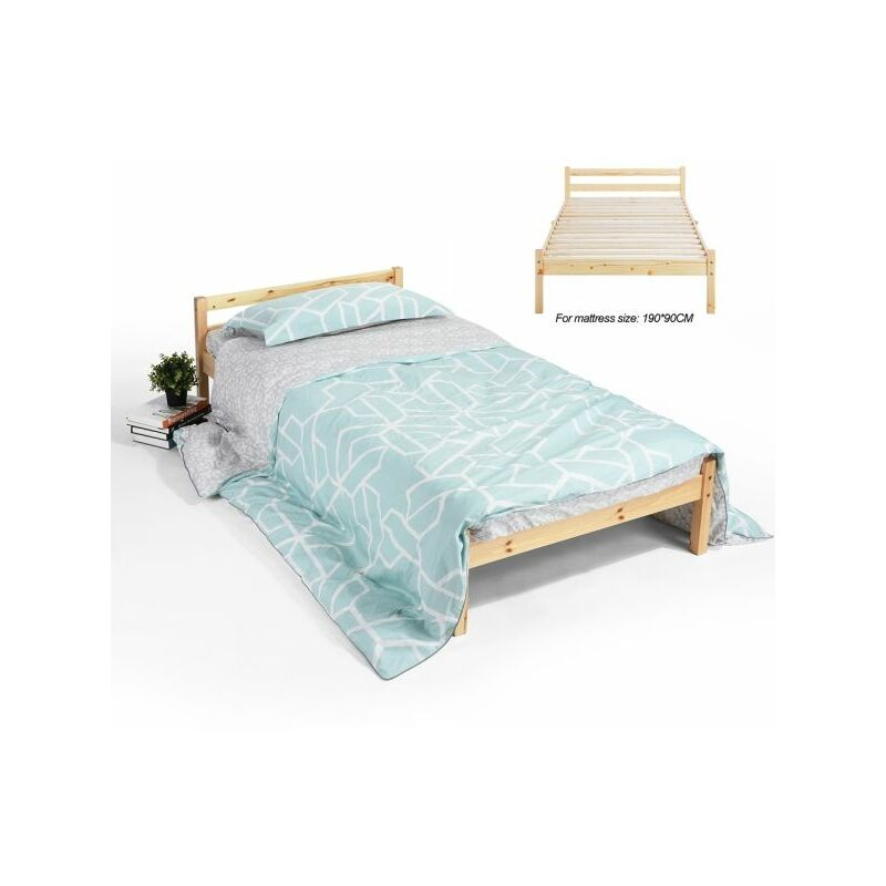 Image of Homylin - Single Bed Frame, Durable Solid Wood Small Bed with Low Headboard and Footboard Space-saving Design Rustic Style Bedroom Furniture for