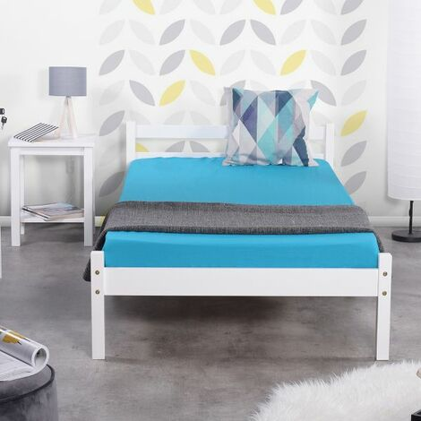 Single Bed Frame, Durable Solid Wood Small Bed with Low Headboard and Footboard Space-saving Design Rustic Style Bedroom Furniture for Children Adult Guest White (198x96x54cm) - Single White