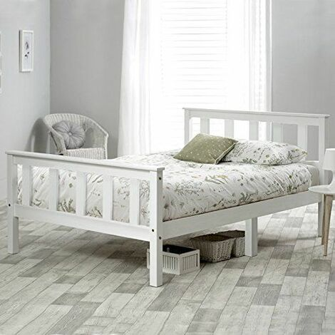 Single Bed White 3ft Solid Pine Wooden Bed Frame