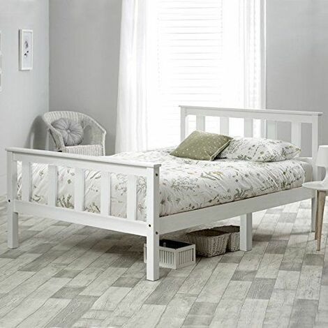 Single Bed White 3ft Solid Pine Wooden Bed Frame for Adults, Kids 190 x 90 cm (3FT)