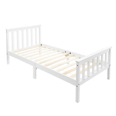 """main image of """"Single Bed White 3ft Solid Pine Wooden Bed Frame for Adults, Kids 190 x 90 cm"""""""