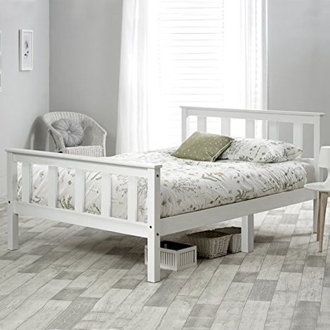 Single Bed White 3ft Solid Pine Wooden Bed Frame for Adults, Kids 96x196cm (3FT) B2B00292