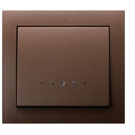 Single Big Button Indoor Light Switch Click Wall Plate Metallic Brown with Light