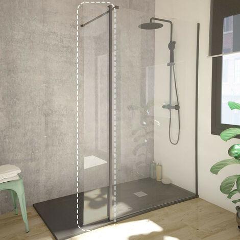 Single black Mampara de ducha aleta pivotante 30