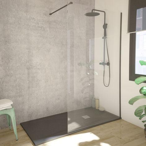 Single black Mampara de ducha cristal fijo