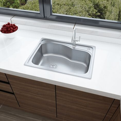Single Bowl Stainless Steel Square Kitchen Sink, 58 x 43 x 20 cm