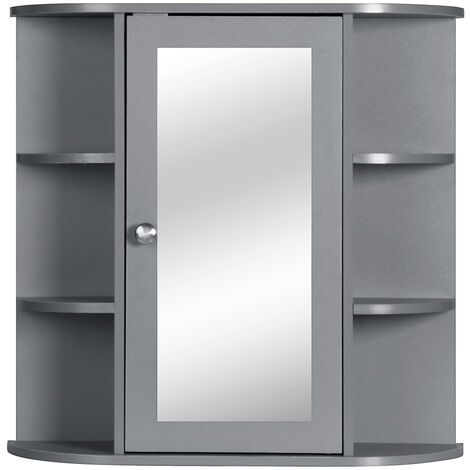 "main image of ""Single Door Bathroom Cabinet Shelves Wall Mount Cabinet with Mirror Organizer"""