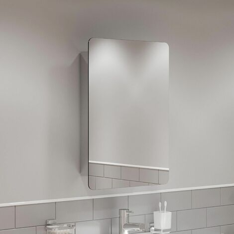Single Door Bathroom Mirror Cabinet Cupboard Stainless Steel Wall Mounted 460mm