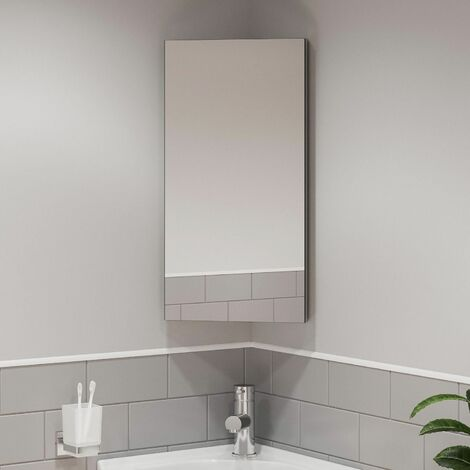 Single Door Corner Bathroom Mirror Cabinet Cupboard Stainless Steel Wall Mounted