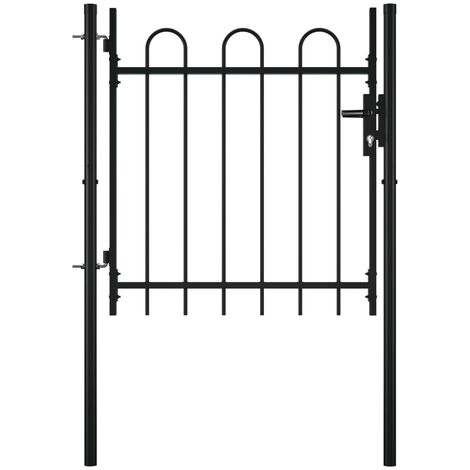 Single Door Fence Gate with Hoop Top 100 x 75 cm