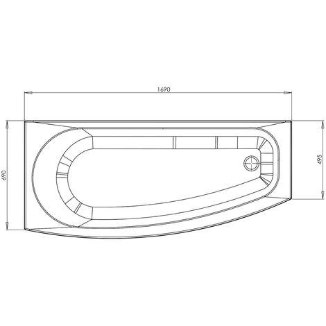 Single Ended 1700x700 RH Modern Bathtub Tap Holes White Acrylic Bathroom UK Made