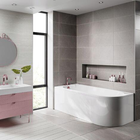 Single Ended 1700x750 LH J Shaped Modern Bath Tub White Acrylic Bathroom UK Made
