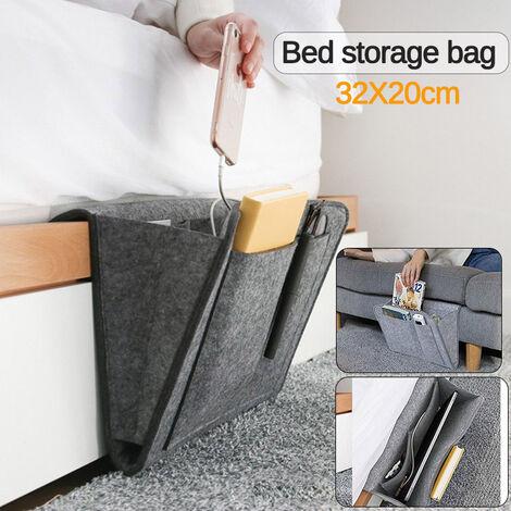 Single Flat Felt Bedside Storage Bag Bedroom Finishing Sofa Bed Organizer Storage Bag 32 * 20cm (Dark Gray, Bed Storage Bag)