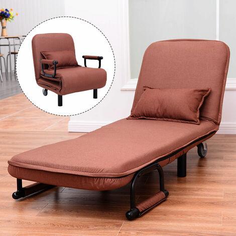 Single Folding Sofa Bed Chair Modern Fabric Sleep Function Holder W/ Pillow Coffee